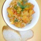 Як приготувати картопля тушкована з овочами і зеленим горохом - рецепт