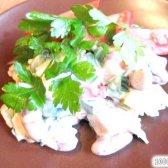 Кулінарний рецепт салат копчена курка квасоля з фото