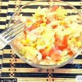 Рецепт салат крабові палички рис, салат і помідори з фото