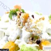 Рецепт салат з ананасом, шинкою і горіхами з фото
