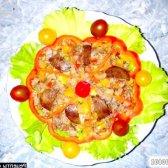 Рецепт теплий салат з курячою печінкою і помідорами з фото