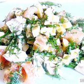 Кулінарний рецепт курячий салат з помідором і сиром з фото