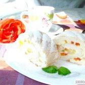 Рецепт бісквітний рулет на білках із заварним кремом і екзотичними фруктами з фото