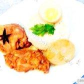Кулінарний рецепт курка в червоному соусі з яйцями з фото