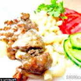 Рецепт куряча печінка і сердечка в майонезну соусі з фото